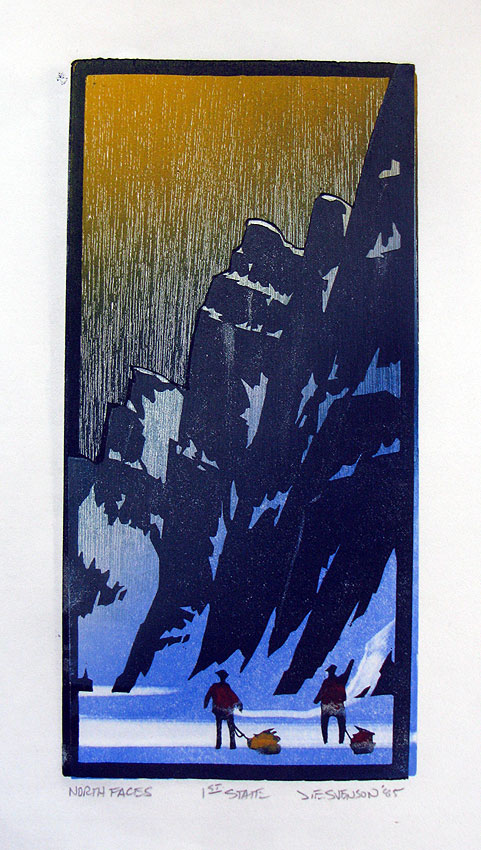 North Faces  -  Woodblock Print